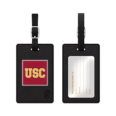 Centon Leather Classic Bag Tag, Black, University of Southern California