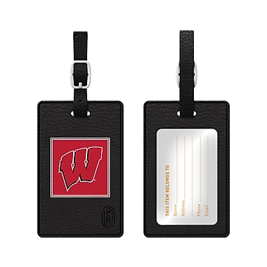 Centon Leather Classic Bag Tag, Black, University of Wisconsin