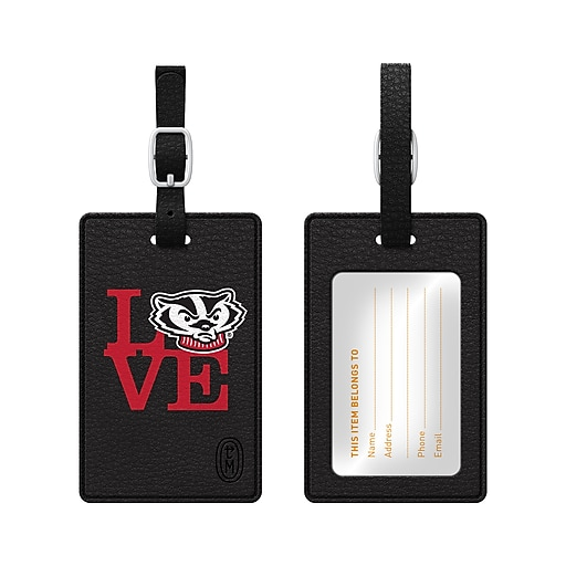 Centon Black Leather Love Bag Tag, University of Wisconsin-Madison