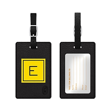 Centon OTM Monogram Leather Bag Tag, Inversed, Black, Electric E