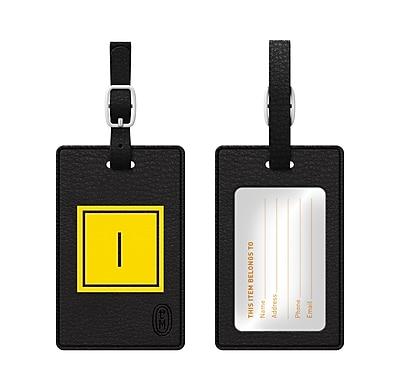 Centon OTM Monogram Leather Bag Tag, Inversed, Black, Electric I