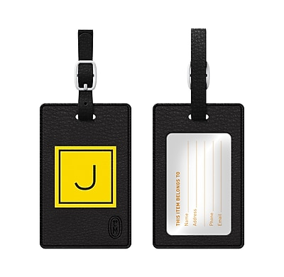 Centon OTM Monogram Leather Bag Tag, Inversed, Black, Electric J