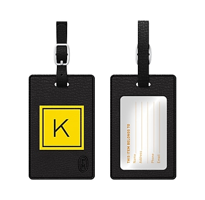 Centon OTM Monogram Leather Bag Tag, Inversed, Black, Electric K