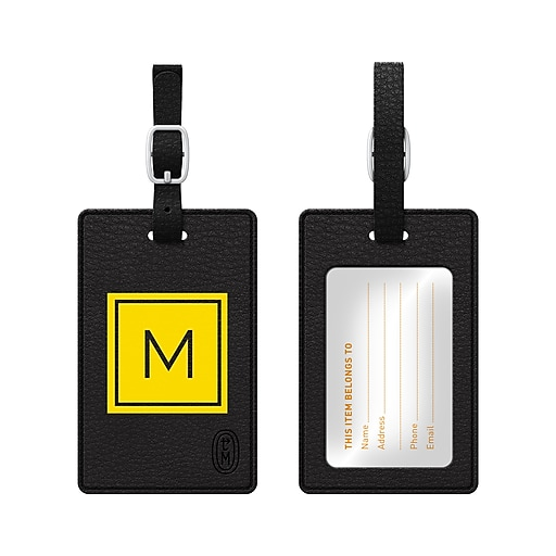 Centon OTM Monogram Leather Bag Tag, Inversed, Black, Electric M