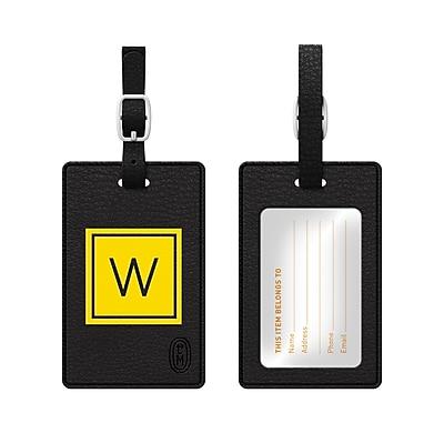 Centon OTM Monogram Leather Bag Tag, Inversed, Black, Electric W