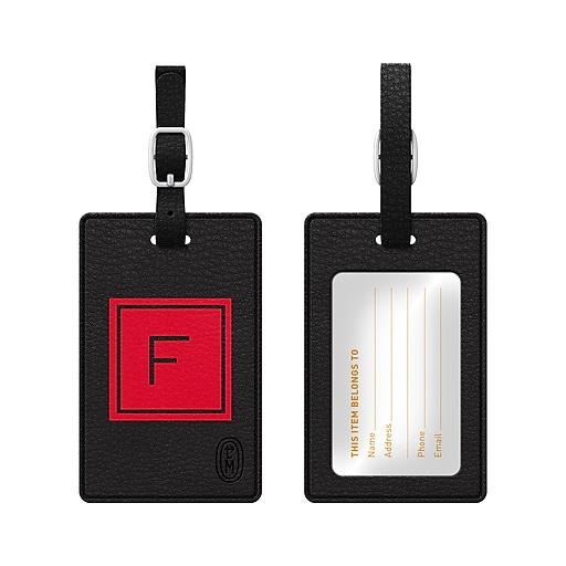Centon OTM Monogram Leather Bag Tag, Inversed, Black, Fire F
