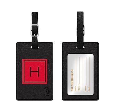 Centon OTM Monogram Leather Bag Tag, Inversed, Black, Fire H