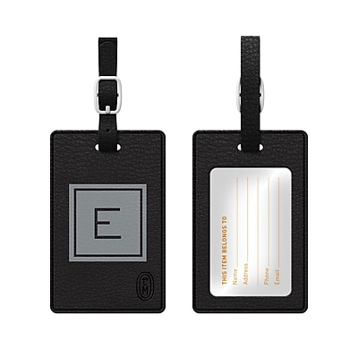 Centon OTM Monogram Leather Bag Tag, Inversed, Black, Graphite E