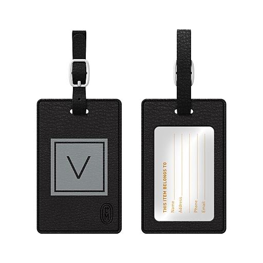 Centon OTM Monogram Leather Bag Tag, Inversed, Black, Graphite V