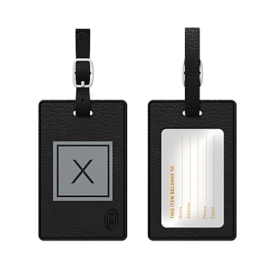Centon OTM Monogram Leather Bag Tag, Inversed, Black, Graphite X