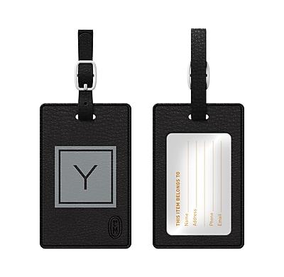 Centon OTM Monogram Leather Bag Tag, Inversed, Black, Graphite Y