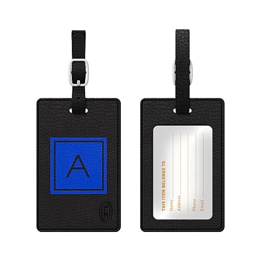 Centon OTM Monogram Leather Bag Tag, Inversed, Black, Marine A