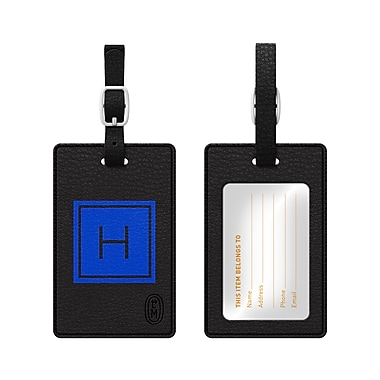 Centon OTM Monogram Leather Bag Tag, Inversed, Black, Marine H