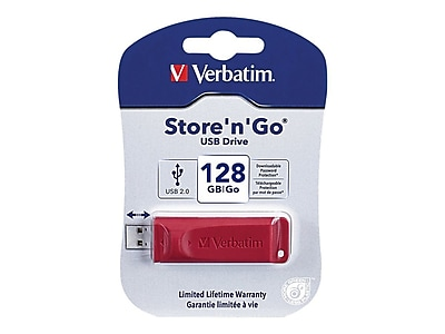 Verbatim ® Store 'n' Go 128GB USB 2.0 Flash Drive, Red (98525)