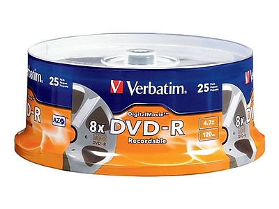 Verbatim® 94866 Digital Movie® 4.7GB 8x DVD Recordable Media, 25 Pack