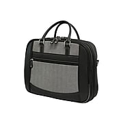 """Mobile Edge ScanFast Black/White Faux-Leather Large Briefcase For 16"""" Laptop."""
