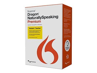 Nuance® Dragon NaturallySpeaking v.13.0 Premium Student/Teacher Software, 1 User, Windows, DVD-ROM