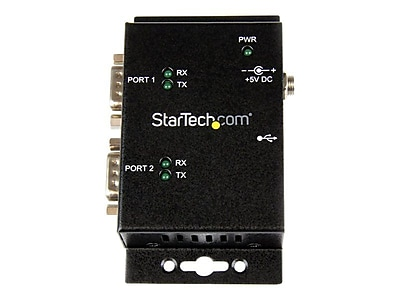 StarTech 2-Port Industrial Wall Mountable USB to Serial Adapter Hub With DIN Rail Clips