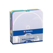 Verbatim® TRIMpak Plastic CD/DVD Jewel Case, Assorted, 10/Pack