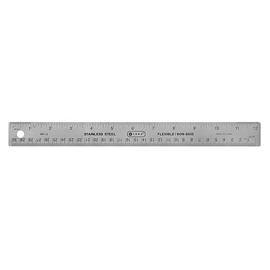 C-THRU - Règle en acier inoxydable 30 cm/12 po, dessous en liège, paq./5