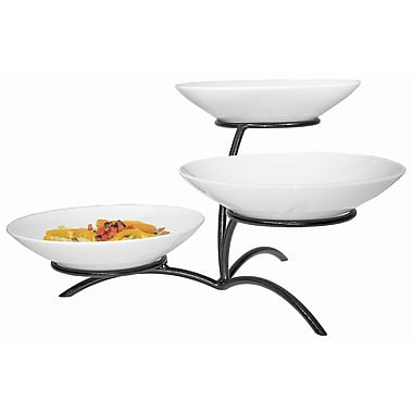 Cal-Mil 3 Tier Round Bowl Display Stand; Black