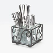Cal-Mil Wire/Faux Glass Cutlery Holder