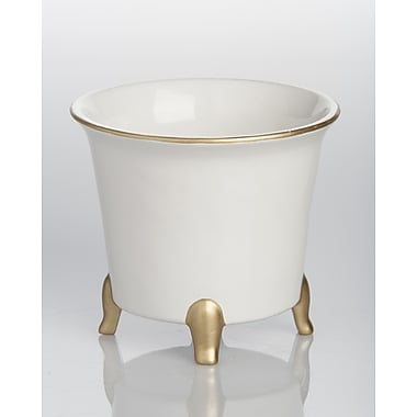 Abigails Jaipur Ceramic Pot Planter; White / Gold