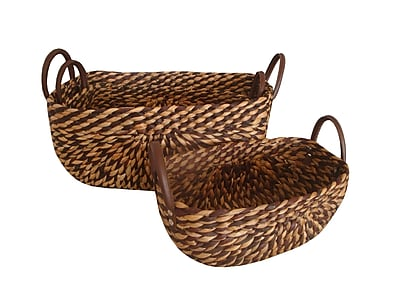 Baum 3 Piece Basket with Handles Set Brown