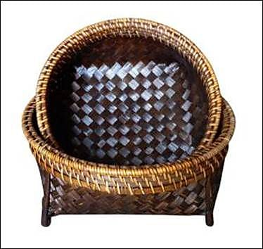 Baum 2 Piece Flat Bamboo Basket Set Brown