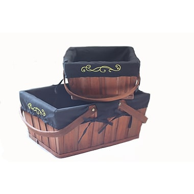 Baum Basket with Handles and Embroidered Liner Set Brown