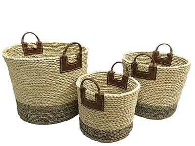 Baum Maize Rope Basket Set, Black