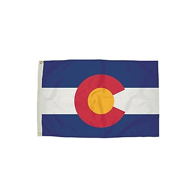 Flagzone Colorado Flag with Heading and Grommets, 3' x 5', Each