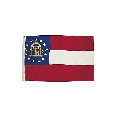 Flagzone Georgia Flag with Heading And Grommets, 3' x 5' (FZ-2092051)