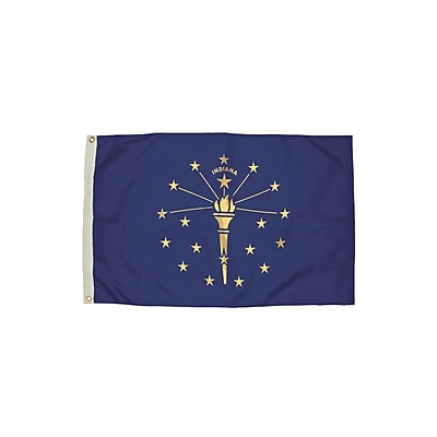 Flagzone Indiana Flag with Heading and Grommets, 3' x 5', Each