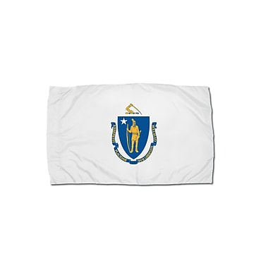 Flagzone Massachusetts Flag with Heading and Grommets, 3' x 5', Each