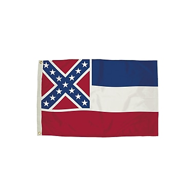 Flagzone Mississippi Flag with Heading and Grommets, 3' x 5', Each