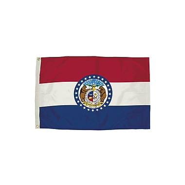 Flagzone Missouri Flag with Heading and Grommets, 3' x 5', Each