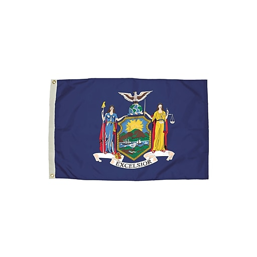 Flagzone New York Flag with Heading and Grommets, 3' x 5', Each