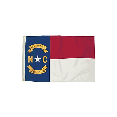 Flagzone North Carolina Flag with Heading and Grommets, 3' x 5', Each