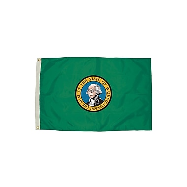 Flagzone Washington Flag with Heading and Grommets, 3' x 5', Each