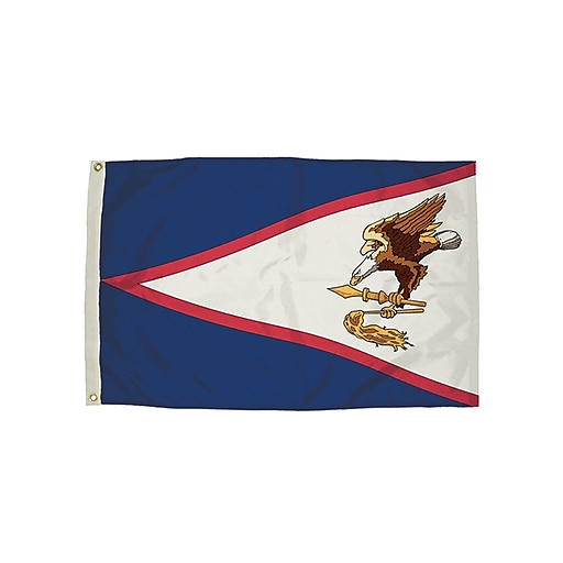 Flagzone American Samoa Flag with Heading and Grommets, 3' x 5', Each