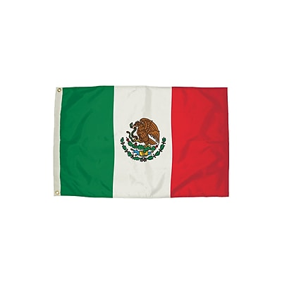 Flagzone Mexico Flag with Heading and Grommets, 3' x 5', Each