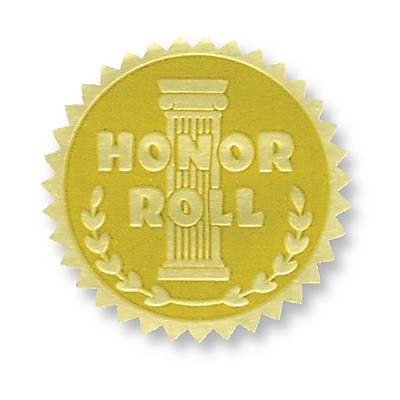 Flipside Gold Foil Embossed Seal, Honor Roll, 54/Pack