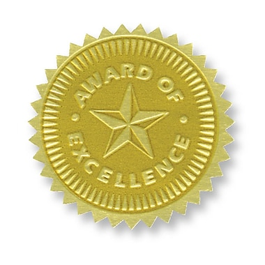 Flipside Gold Foil Embossed Seal, Award Of Excellence, 54/Pack (H-VA373)