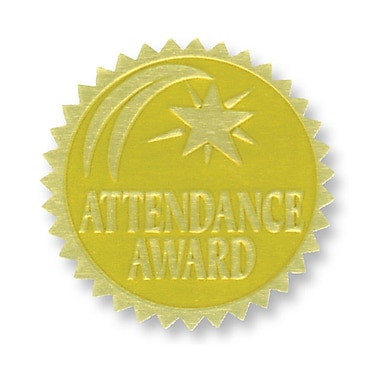 Flipside Gold Foil Embossed Seal, Attendance Award, 54/Pack