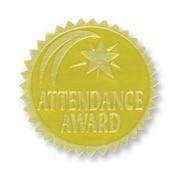 Flipside Gold Foil Embossed Seal, Attendance Award, 54/Pack