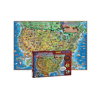 Round World Products Dino's Jigsaw Puzzle, United States Map