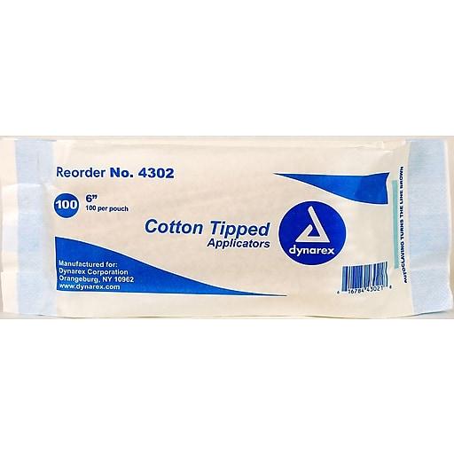 "Dynarex Cotton Tipped Applicator, 6"", Non-Sterile, 1000/Box"