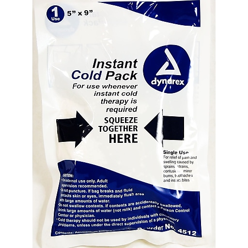 """Dynarex Disposable Instant Cold Pack; 5"""" x 9"""", 24/Pack"""