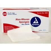 "Dynarex 4-Ply Non-Woven Gauze Sponge, 4"" x 4"", 2000/Pack"
